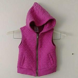 Hot Pink Hearts Hooded Vest Jacket Size 3T